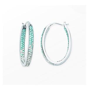 Hoop Earrings, Inside Outside Oval Hoop/#4 Aquamarine