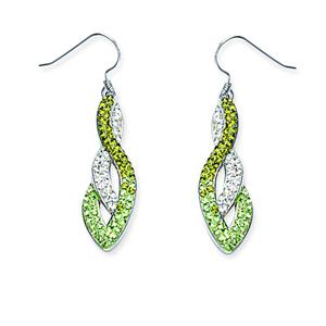 Hoop Earrings, Swirl Drop Ear/Green/Clear
