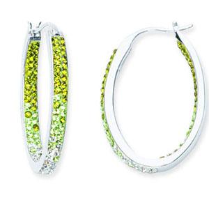 Hoop Earrings, Inside Outside Oval Hoop/Peridot