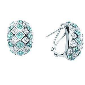 Hoop Earrings, Bold Checkerboard Ear/Aquamarine/Clear