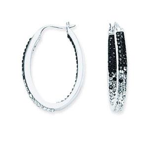 Hoop Earrings, Inside Outside Oval Hoop/Grad Blk/Clear