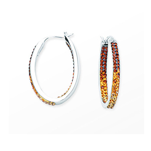 Hoop Earrings, Inside Outside Oval Hoop/Sm.Topaz/Clear