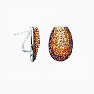 Hoop Earrings, Fancy Crystal Ear/Smokey Topaz/Clear