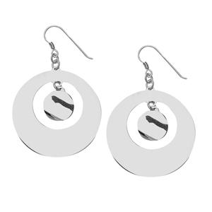 Dangle Earring, Ss Rhod Circle Fashion Dangle Earring