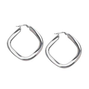 Hoop Earrings, Ss Rhod Square Bended Hoop Earring
