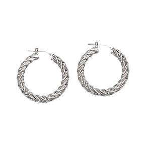 Hoop Earrings, Ss Rhod Fancy Twist Hoop Earring
