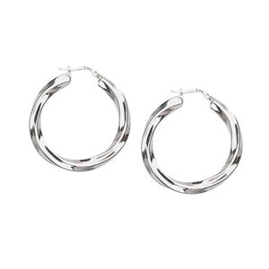 Hoop Earrings, Ss Rhod Twist Hoop Earring