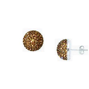 Hoop Earrings, Ss Champagne Crystal Button Earrings