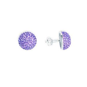 Hoop Earrings, Ss Violet Crystal Button Earrings