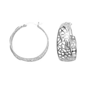 Dangle Earring, Ss Open Work Hoop Earrings