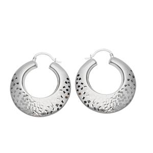 Hoop Earrings, Ss Satin Design Hoop Earring