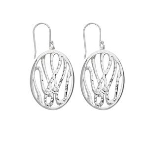 Dangle Earring, Ss Oval Dc Design Drop Earring