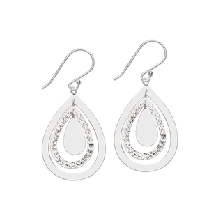 Dangle Earring, Ss Oval Hp & Satin Drop Earring