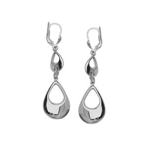 Dangle Earring, Ss Rhod Oval Drop Leverback Earring