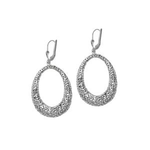 Hoop Earrings, Ss Rhod Dc Laser Oval Leverback Earring
