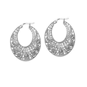 Hoop Earrings, Ss Rhod Dc Web Hoop Earring