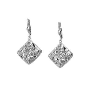 Dangle Earring, Ss Rhod Dc Diamond Drop Earring