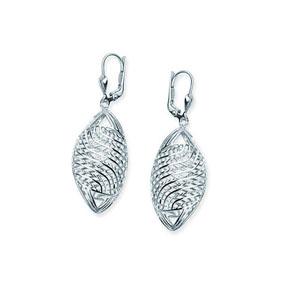 Hoop Earrings, Ss Rhod Dc Twist Oval Leverback Earring