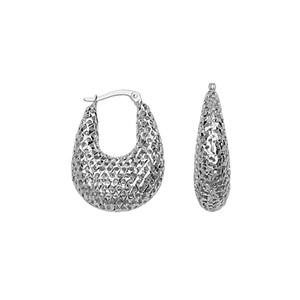 Hoop Earrings, Ss Rhod Dc Laser Oval Hoop Earring