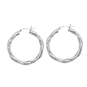 Hoop Earrings, Ss Rhod Twist Round Hoop Earring