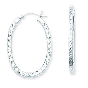 Hoop Earrings, Ss Rhod Oval Dc Hoop Earring