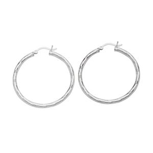 Hoop Earrings, Ss Rhod Mirror Ball Hoop Earring