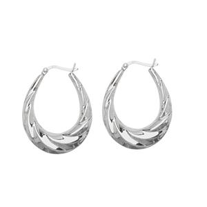 Hoop Earrings, Ss Rhod Oval Twist Hoop Earring