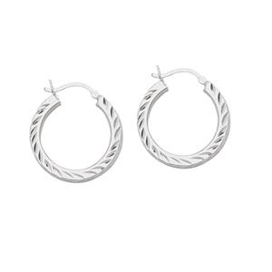 Hoop Earrings, Ss Rhod Dc Round Hoop Earring