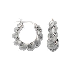 Hoop Earrings, Ss Hp Sat Twist Hoop Earring