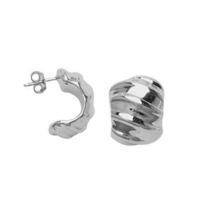 Hoop Earrings, Ss Puff 1/2 Huggie Post Wave  Earring