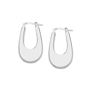 Hoop Earrings, Ss Oval  Hoop Earring