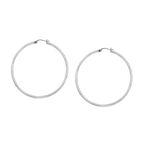 Hoop Earrings, 2 X 25 Plain Round Hoops/Phodium