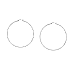 Hoop Earrings, 2 X35 Plain Round Hoop Ear/Rhodium