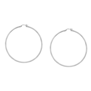Hoop Earrings, 2 X 45 Plain Round Hoop Ear/Rhodium