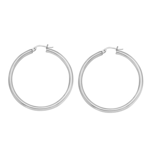 Hoop Earrings, 3 X 25 Plain Round Hoops/Rhodium