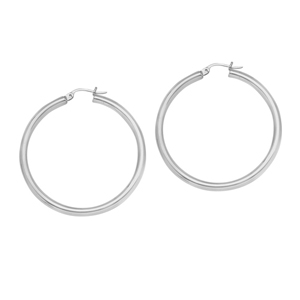 Hoop Earrings, 3 X 35 Plain Round Hoop Ear/Rhodium