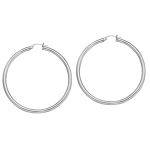 Hoop Earrings, 3 X 45 Plain Round Hoop Ear/Rhodium