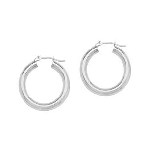 Hoop Earrings, 4 X 25 Plain Round Hoop  Ear/Rhodium