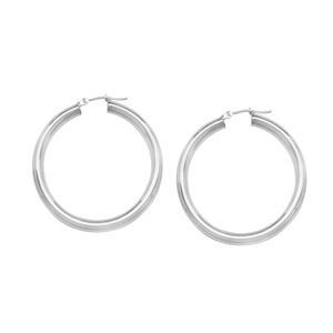 Hoop Earrings, 4 X 30 Plain Round Hoop Ear/Rhodium