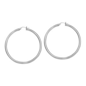 Hoop Earrings, 4 X 40 Plain Round Hoop Ear/Rhodium
