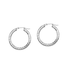 Hoop Earrings, 3 X 25 All Dc Round Hoops/Rhodium