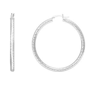 Hoop Earrings, 3 X 45 All Dc Round Hoops/Rhodium