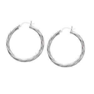 Hoop Earrings, Ss Twist Hoop Earring