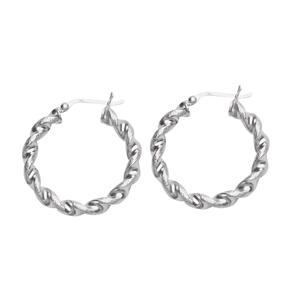 Hoop Earrings, Ss Hp/Sat Twist Hoop Earring