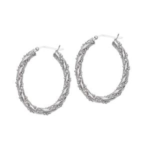 Hoop Earrings, Ss Bead/Texture Twist Hoop Earring
