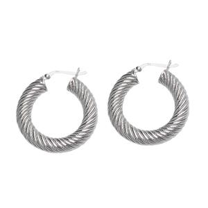 Hoop Earrings, Ss Twist Hoop Texture Earring