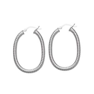 Hoop Earrings, Ss Twist Oval Hoop Earring