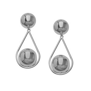 Hoop Earrings, Ss Rhod Ball Fancy Earring