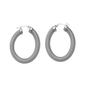 Hoop Earrings, Ss Mesh Oval Hoop Earring