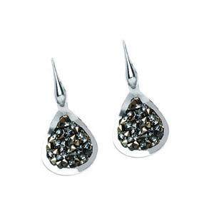 Dangle Earring, Ss Rhod Crystal Rock Tear Earring